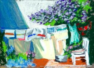 """""""Lilacs and Laundry"""", pastel, 9"""" x 12"""" © Bernadette E. Kazmarski"""