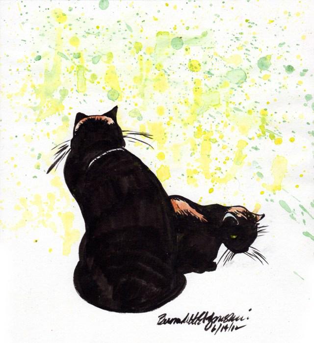 """In Afternoon Sun"", ink brush pen and watercolor, 10 x 11 © Bernadette E. Kazmarski"