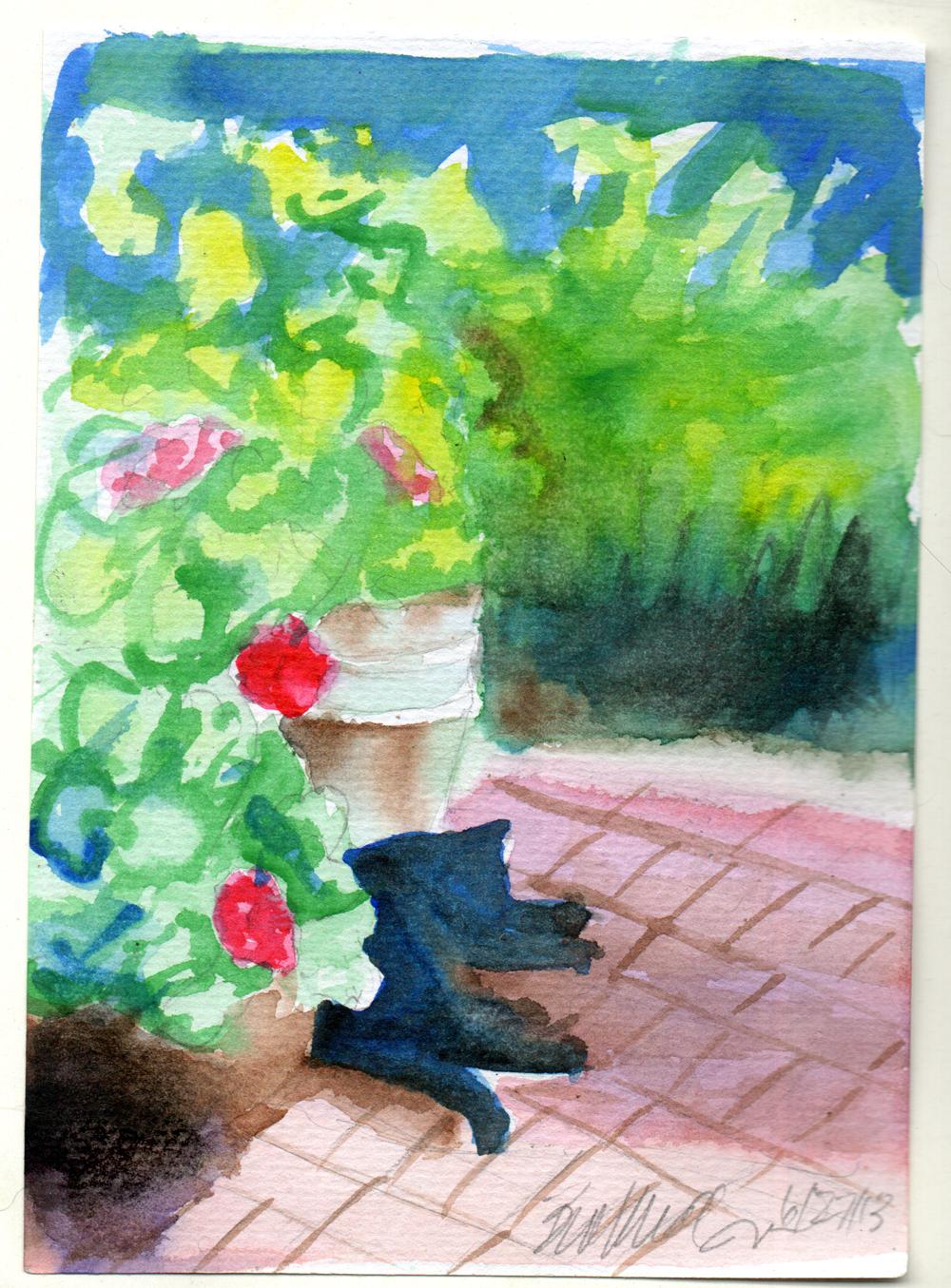 """Garden Sketch With Mimi"", 5"" x 7"", watercolor, 2013 © Bernadette E. Kazmarski"