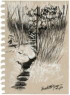 """Ravine, 5"""" x 7"""", white and black charcoal © Bernadette E. Kazmarski"""