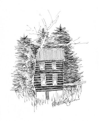 "The Cabin, 4"" x 4"", ink © Bernadette E. Kazmarski"