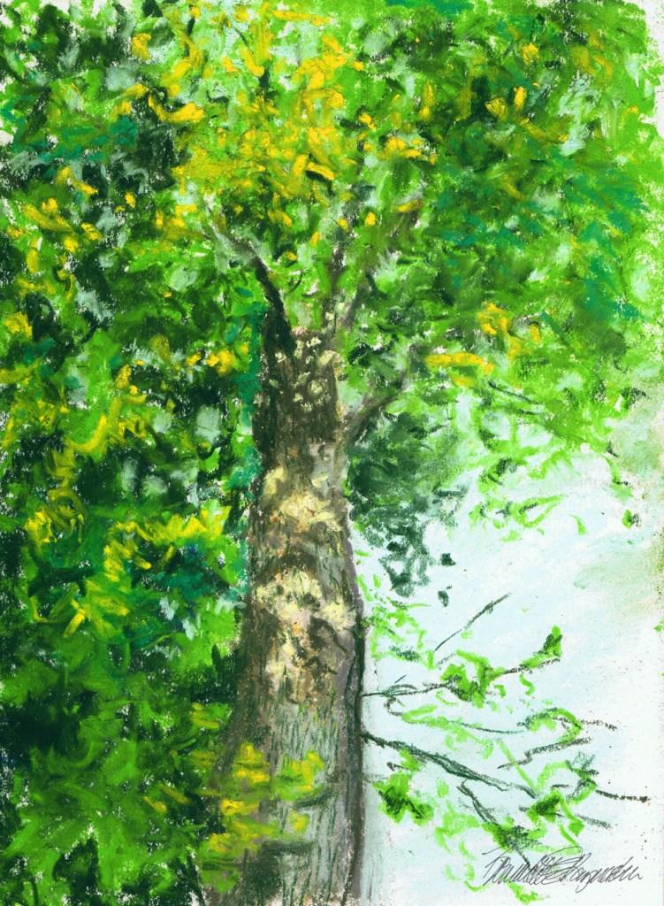 """""""From the Ground Up"""", pastel on multi-media paper, 6.5″ x 9.5″ © Bernadette E. Kazmarski"""