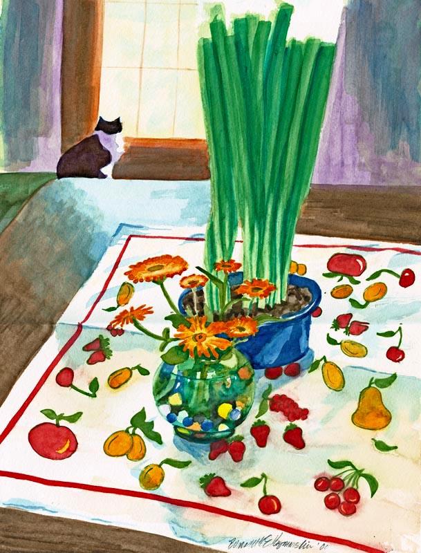 Interior With Cat, watercolor, 8 x 12 © Bernadette E. Kazmarski