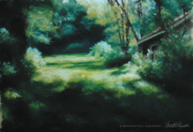 """Into the Woods"", 10"" x 9"", pastel on Wallis pastel paper, 1999 © Bernadette E. Kazmarski"