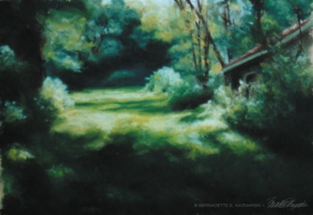"""Into the Woods"", 10"" x 9"", pastel on Wallis pastel paper, 1999 © Bernadette E. Kazmarski"
