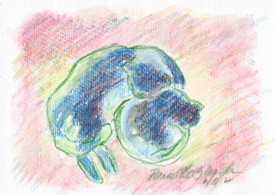 "Mother and Daughter, Sun and Shadow, watercolor pencil, 5"" x 7"" © Bernadette E. Kazmarski"