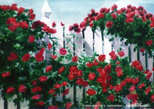 Red Climbers, watercolor, 5 x 7 greeting card.