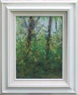 """""""Spring Morning Leaves"""", pastel on multi-media paper, 9″ x 12″ © Bernadette E. Kazmarski"""