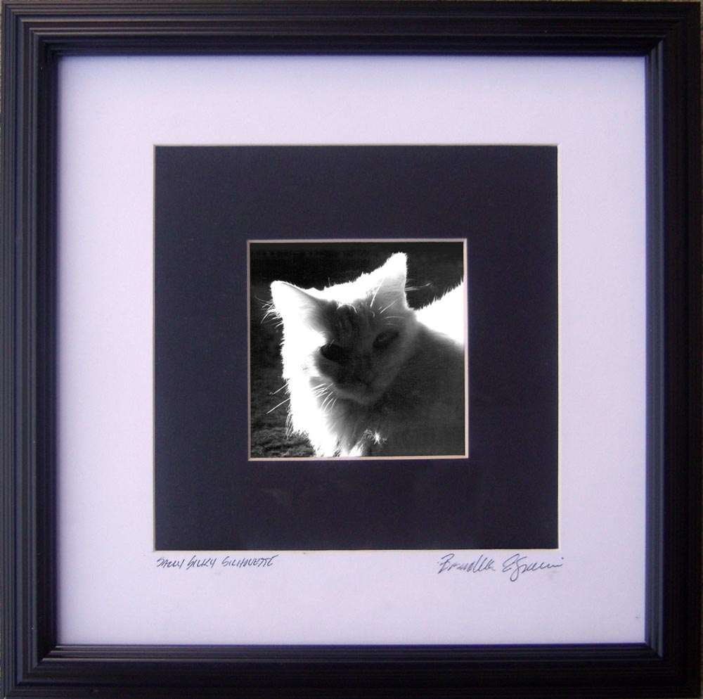 """Sally Silhouette"", 3"" x 3"" photo matted and framed to 8"" x 8""."