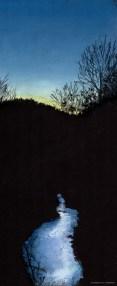 "Winter Sunset Reflections, 7"" x 17"", pastel © Bernadette E. Kazmarski"