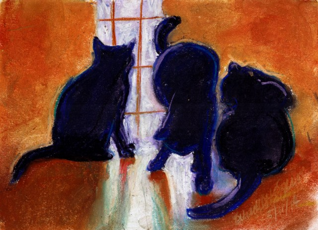 """Mewsette's Tail"", pastel on white multi-media paper, 6.5"" x 9.5"" © Bernadette E. Kazmarski"