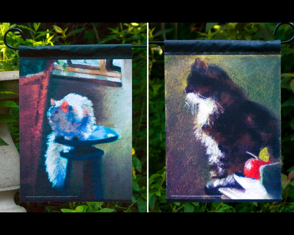 """Impressionist Cats"" garden flag."