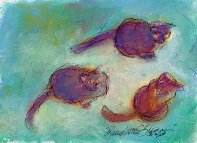 """Three Warm Cats on a Cool Ground"", pastel, 7"" x 10"" © Bernadette E. Kazmarski"