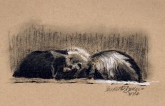 """Front and Back"", white and black charcoal on toned paper, 8"" x 5"" © Bernadette E. Kazmarski"