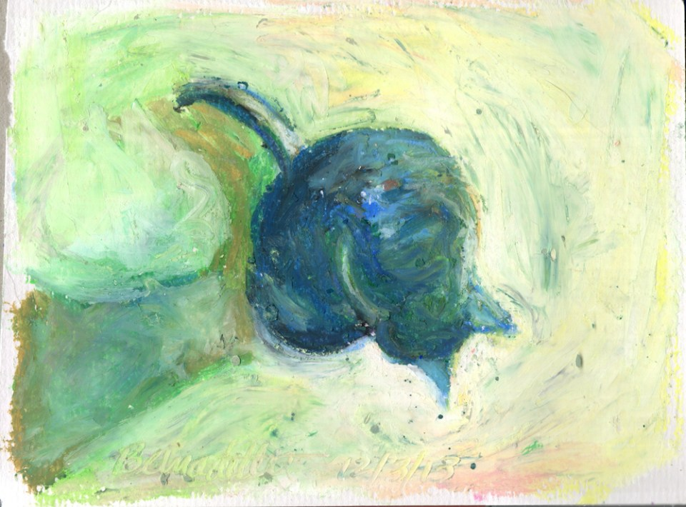 """Cool Morning Bath"", oil pastel, 5"" x 7"" © Bernadette E. Kazmarski"