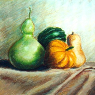 Squashes, 12 x 12,oil pastel, 1998 © Bernadette E. Kazmarski