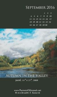 """Autumn int he Valley"" desktop calendar, for 400 x 712 for mobile phones."
