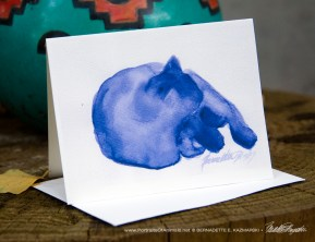 """Mewsette's Blue Nap"" note card."