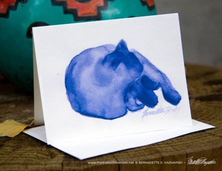 """""""Mewsette's Blue Nap"""" note card."""