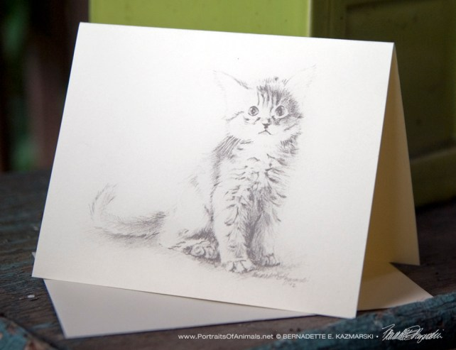 """Ready for Play"" Feline Pencil Sketches note card."
