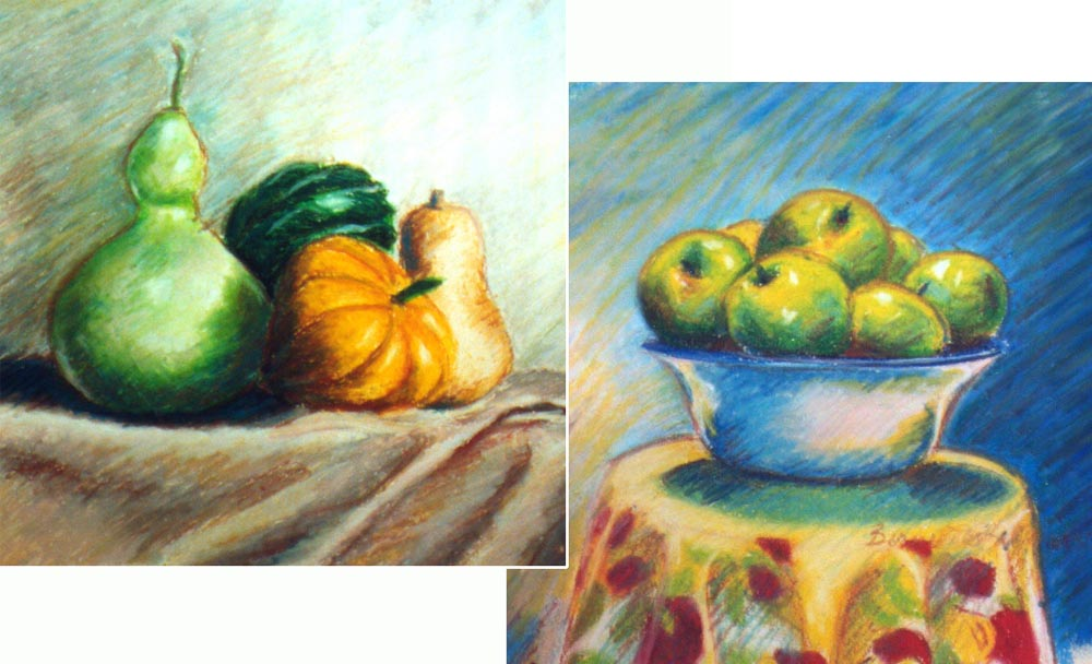 Autumn Still Lifes in Oil Pastel