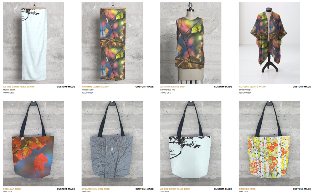 Tops, wraps, scarves and totes.
