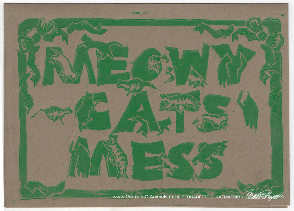 Meowy Cat's Mess, green on kraft