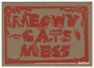 Meowy Cat's Mess, red on kraft