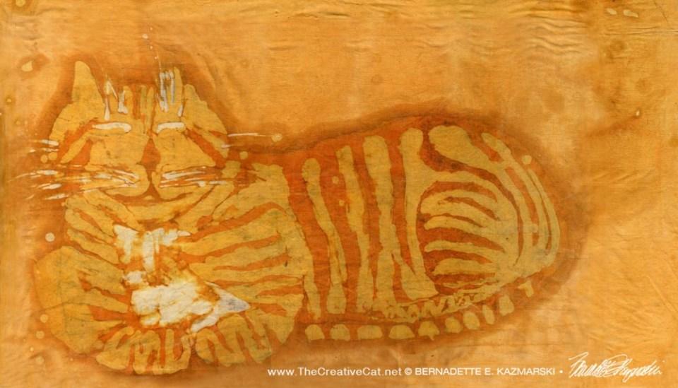 """""""Smiling Ginger Kitty"""", batik, 18"""" x 30"""", 1972 © Bernadette E. Kazmarski"""