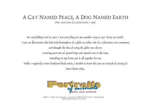 """""""A Cat Named Peace, A Dog Named Earth"""", back of card."""