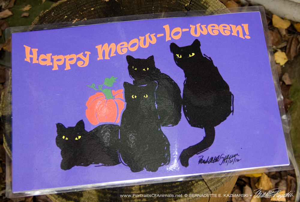 Happy Meow-lo-ween 11 x 17 laminated placemat