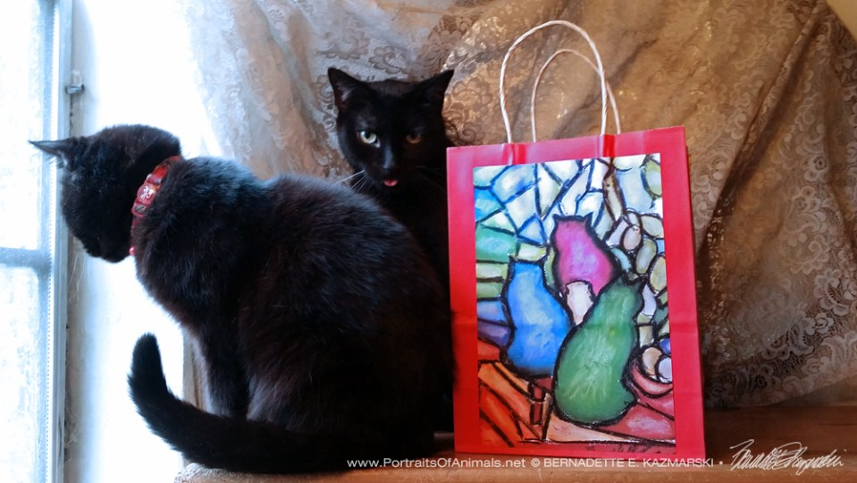 """Stained Glass Cats"", pastel, 6"" X 9""© Bernadette E. Kazmarski"