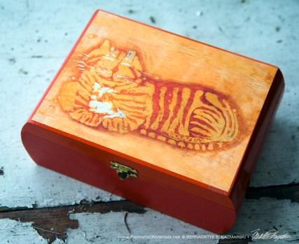 Orange Chesire Cat Batik Repurposed Cigar Box Keepsake.