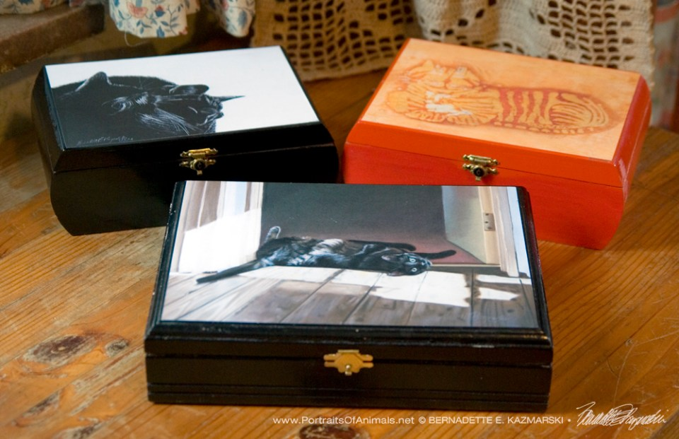 Keepsake boxes made from really nice wooden cigar boxes.