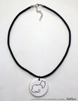 """Sample of flocked cord with """"Back to Front"""" pendant, 1"""" x 1"""" round."""