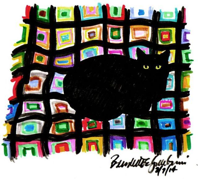 """Mewsette on the Afghan"", markers , 6"" x 7"" © Bernadette E. Kazmarski (with rough edges)"