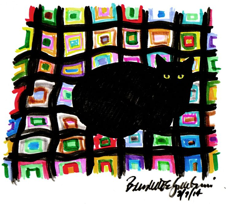 """Mewsette on the Afghan"", markers , 6"" x 7"" © Bernadette E. Kazmarski (with rough edges)"