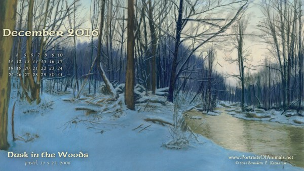"""""""Dusk in the Woods"""" desktop calendar 2560 x 1440 for HD and wide screens."""