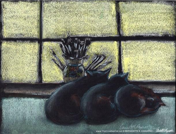 """Studio Morning Shift"", pastel on black pastel paper, 9 x 12 © Bernadette E. Kazmarski"