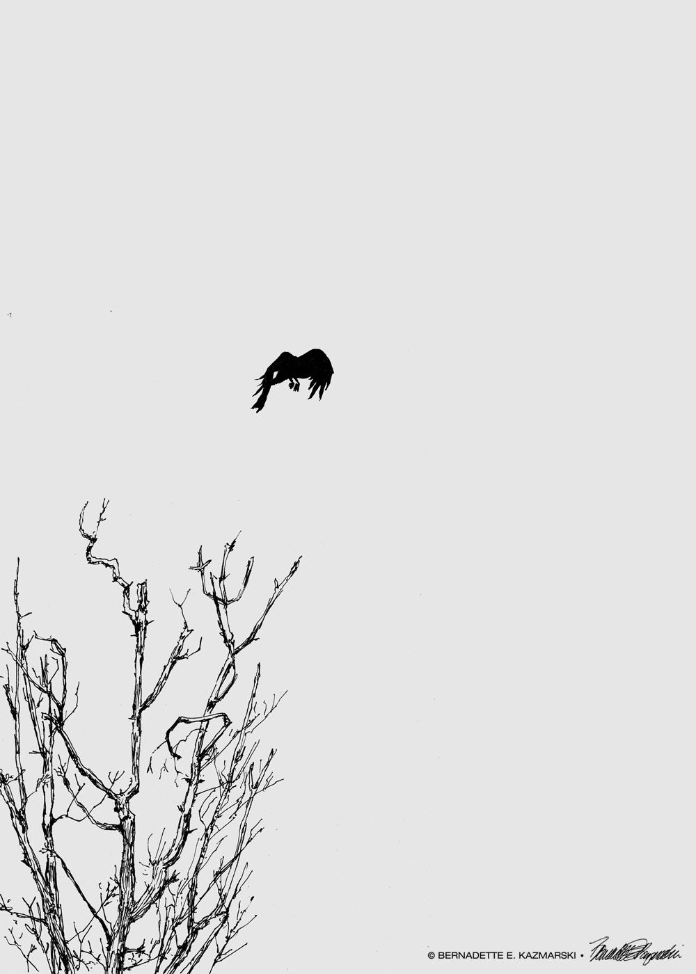 As the Crow Flies, 10 x 14, ink on gray paper © Bernadette E. Kazmarski