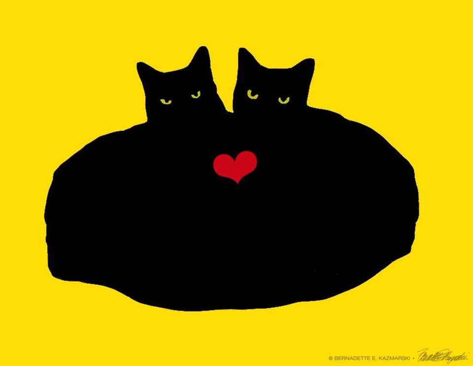 """""""Heart Cats"""", featuring Mr. Sunshine and Mewsette."""