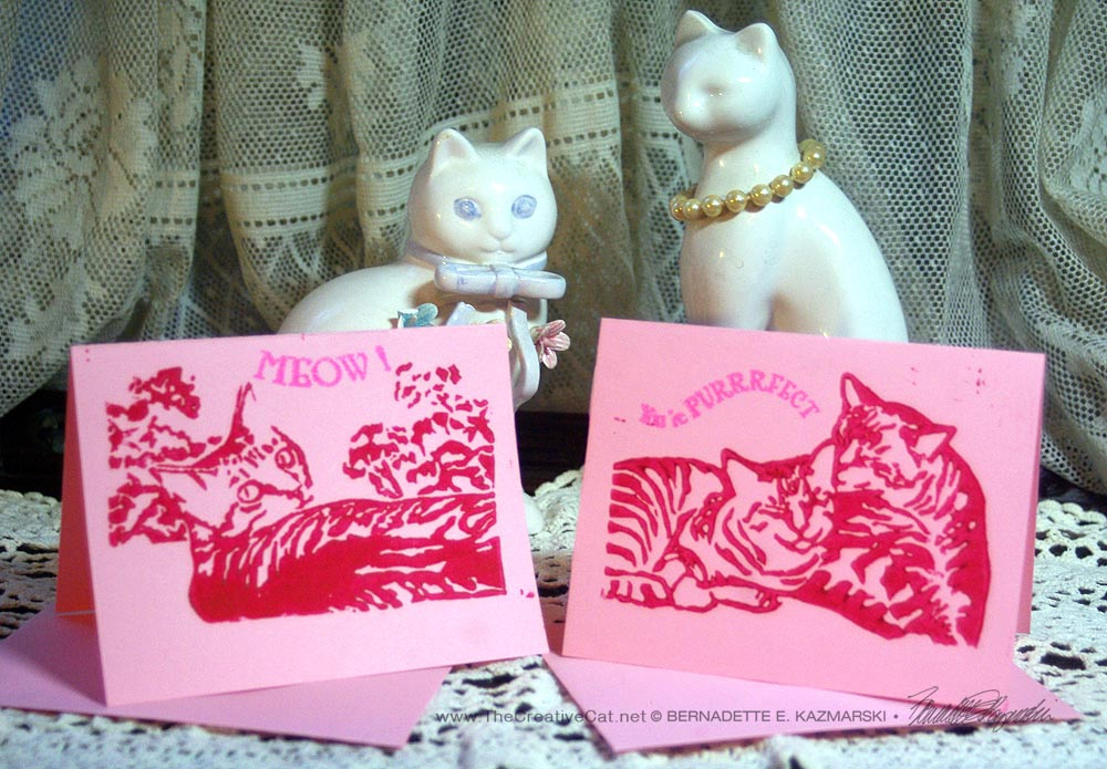 Pink cards, two designs.