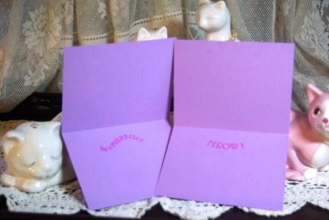 Violet cards, inside.
