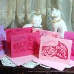 Linoleum block-printed Valentine cards inspired by Valentine Candy hearts!