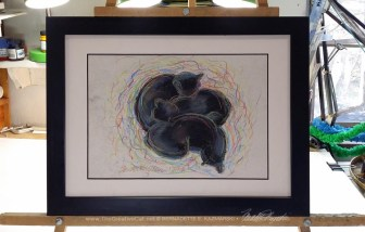 """""""Black Cats Dreaming in Color"""", framed."""
