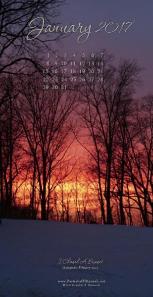 """I Chased A Sunset"" desktop calendar, for 400 x 712 for mobile phones."
