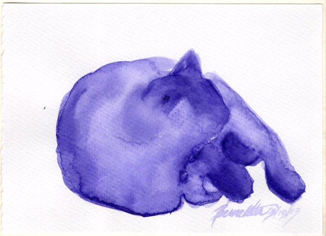 """Purple Nap"", indigo watercolor on watercolor paper, 6"" x 4.25"" © Bernadette E. Kazmarski"