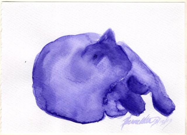 """Purple Nap"", indigo watercolor on watercolor paper, 6"" x 4.25"" © Bernadette E. Kazmarski"
