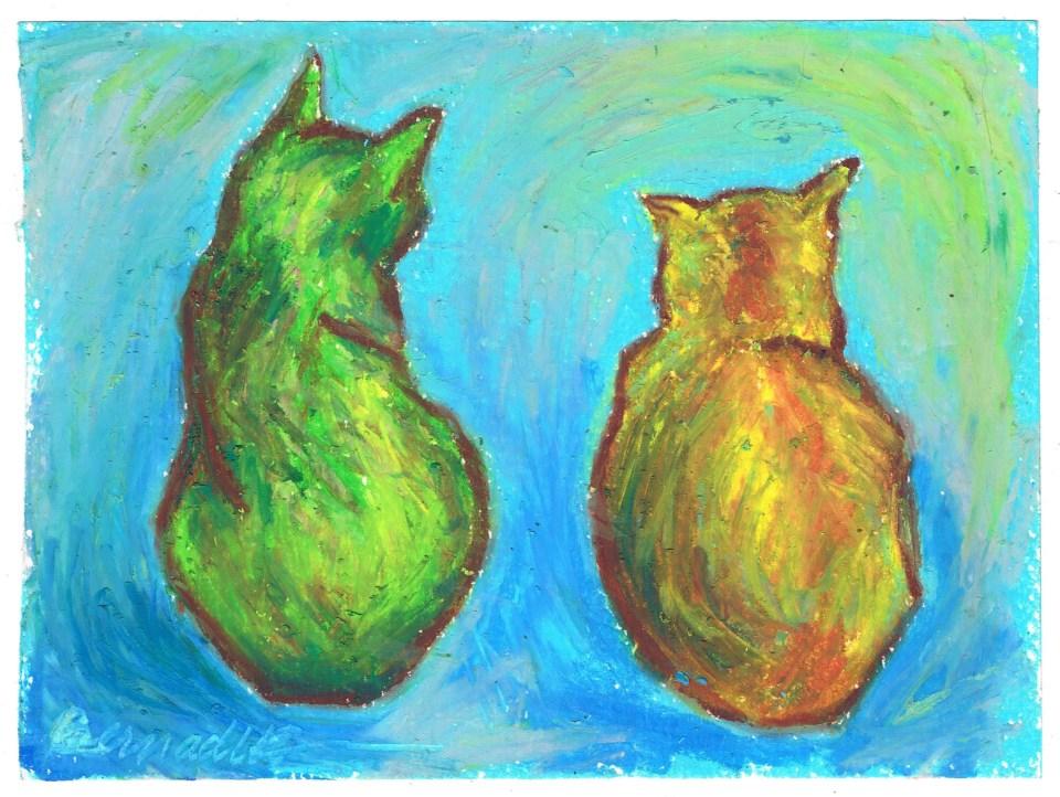 """Two Cats After van Gogh"", oil pastel, 6"" x 5"" © Bernadette E. Kazmarski"