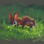"""Backyard Bunny"", soft pastels on pastello paper, 11″ x 8″ © Bernadette E. Kazmarski"
